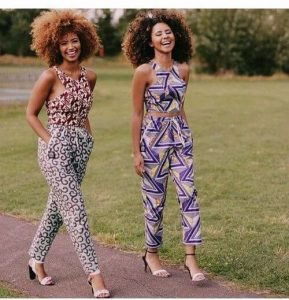 senior twin teen ladies ankara trousers with short sleeve crop top - twitter