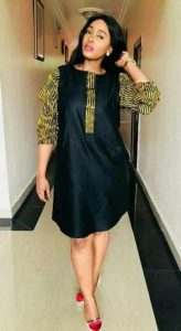 short jean gown with ankara touch at the sleeves - Pinterest