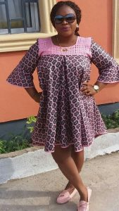 short simple ankara maternity gown with shoulder design for casual outing - thetodayfashion
