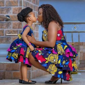 short sleeve ankara gown style for mum and her kid daughter - mammypi