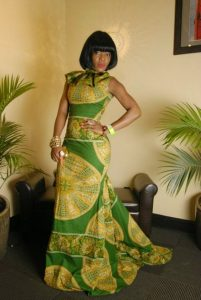short sleeve ankara mermaid gown with high neck style - allthingsankara