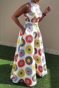 short sleeve ankara palazzo jumpsuit style with waist band - ericdress