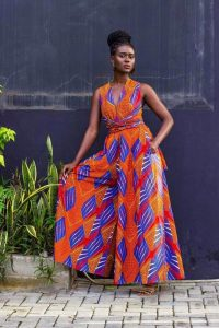 short sleeve ankara palazzo jumpsuit with v neck style afrodesiacworldwide