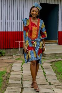 simple ankara agbada church service idea with matching cap for ladies -etsy