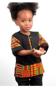 simple ankara plus kente short sleeve senator style for cute baby boys -ocacia