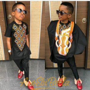 simple ankara senator and agbada styles for kid boys with unique embroidery - bellanaija