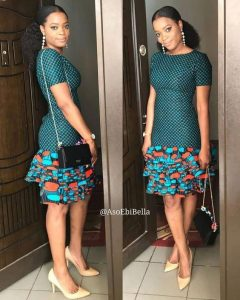 simple cute two patterns ankara gown with shoulder bag - fresh ankarafashion top