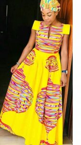 simple kente short sleeve long gown for church service - momoafrica
