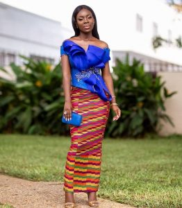simple kente skirt with a stylish blouse for aso ebi - blog stylishgwinafrica