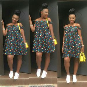 simple off shoulder ankara gown for young girls - mammypi
