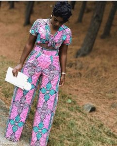 simple short sleeve ankara palazzo trousers with matching crop top - pinterest