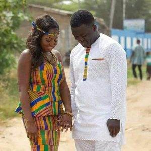 simplicity - the groom just used a touch of kente while the bride rocked full kente skirt and blouse - pinterest
