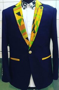 slim fit kente cloth blazer with inner shirt for men - ruvaafricwear