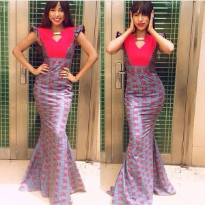 slim queens ankara mermaid gown with opening at the breast - dabonke