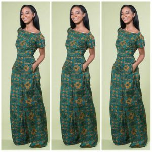 slim queens short sleeve ankara palazzo jumpsuit style with side pocket - afrocosmopolitan