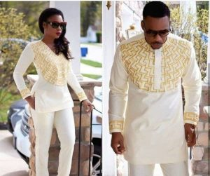 special embroidery plain milk colour ankara senator suit for couples - etsy