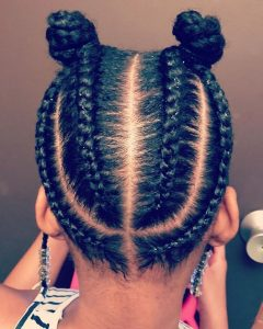 summer hairstyle for celebrity kid girls with two knots - instagram
