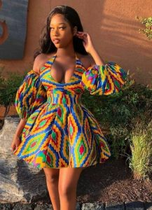 summer or pageantry kente short gown with puffed sleeves - etsy
