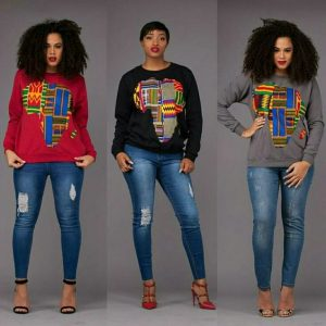sweaters with ankara patches and ripped jeans trousers - fashionruk