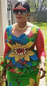 sweet ladies unique ankara skirt and blouse with sunglasses - dabonke