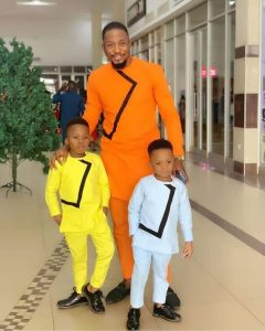 sweet plain ankara senator style for a dad and his two sons - bellanaija