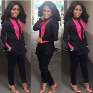 sweet simple black plain ankara senator fashion style with pink embroidery - fashiongist