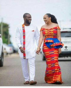 touch of kente on a plain ankara senator for the groom - the bride on off shoulder kente gown - etsy