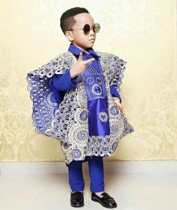 traditional wedding ankara agbada style for boy kids - instagram