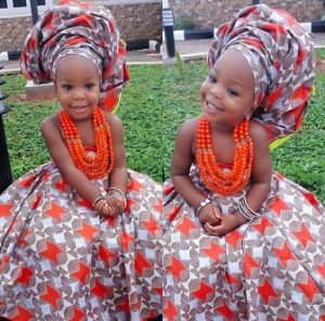 traditional wedding ankara fashion idea for little girls with beads and hair tie - turbanista