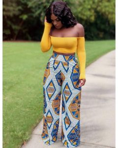 trending ankara palazzo trousers with off shoulder long sleeve hot top - ss18trends