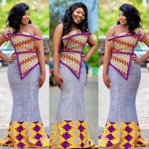 trending plain and pattern one sleeve kente style for cute ladies - ginnaonline