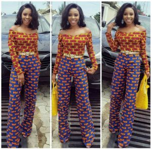 two ankara patterns long sleeve off shoulder palazzo trouser with top and belt - newankarastyles