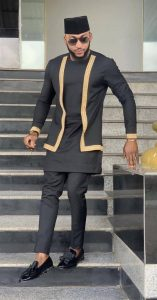 two layers men's dashiki groom long sleeve suit with embroidery - etsy