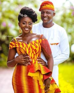 when two african tribes are bonded by love - ama and mbuso rocking a cute kente plus plain ankara combination - instagram