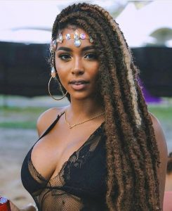 african princess long loc style with special hair band - blackhairinformation