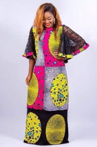 ankara with a touch of lace for long kaftan dress - pinterest