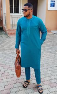 boss men ankara kaftan style with simple but cute embroidery - amzn to