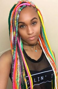 colourful long loc style with side part - thetrendspotter net