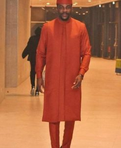 ebuka bbnaija on a classic plain ankara kaftan suit with matching cap - etsy