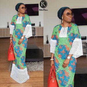 here is a combination of ankara and lace for long kaftan - instagram