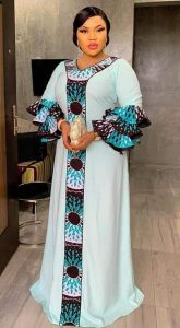 kaftan dress with y shaped ankara design - afrocloth
