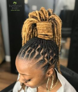 loc ponytail with brazilian wool - instagram