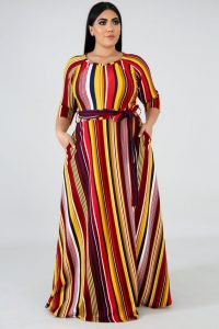 plus size moms striped kaftan maxi dress - gitionline