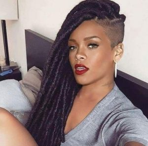 rihanna the hair goddess samples another one sided parted long loc hairstyle - globalcouture1 tumblr