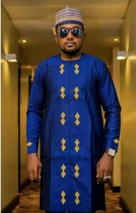 royalty ankara kaftan suit with matching cap and unique embroidery - splendorofafrica