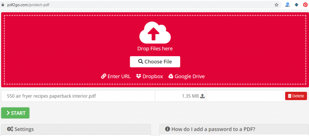 choose the pdf file to password protect