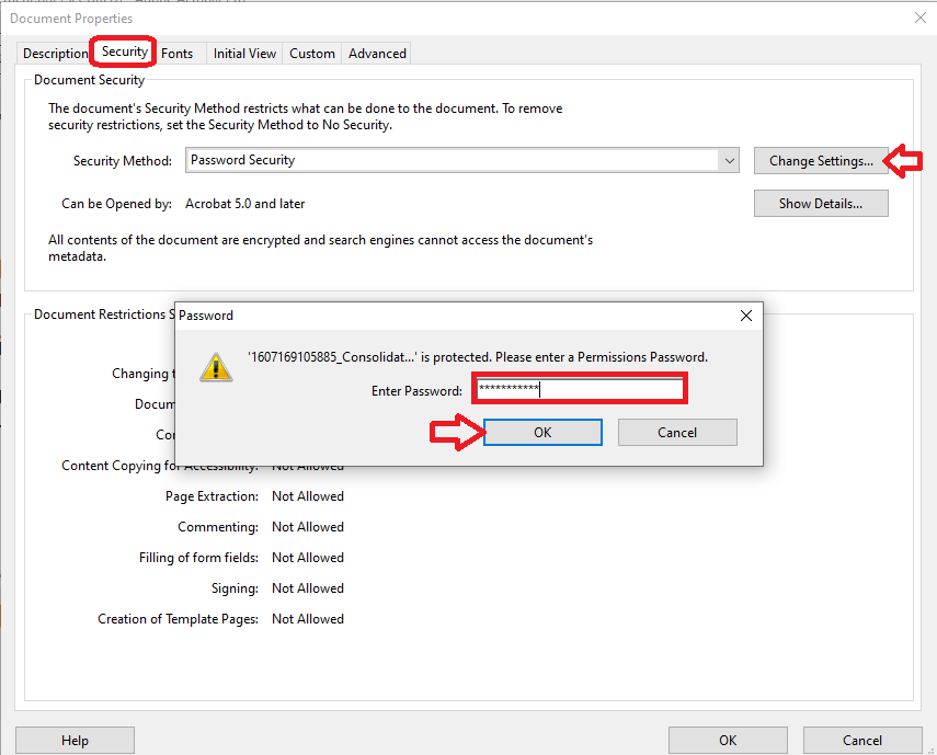 enter the permission password to unlock the pdf file
