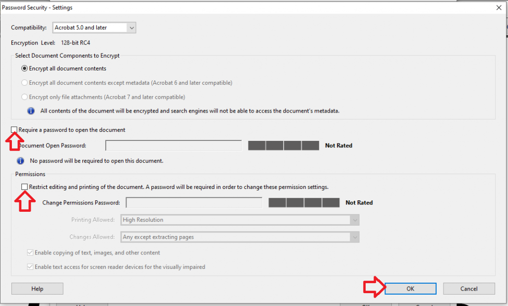 remove the document open password and the permissions password