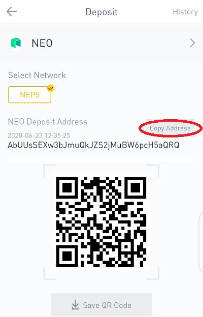 depositing neo token to binance for free