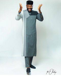 classy native senator suit style inspired by Ebuka, long ankara mafia suit style